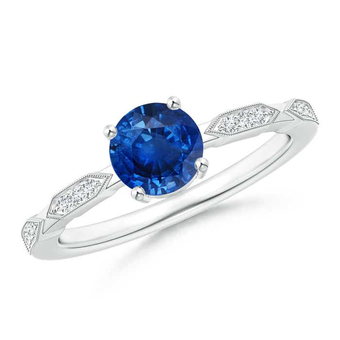 Angara Solitaire Blue Sapphire and Pave Diamond Dome Ring in White Gold