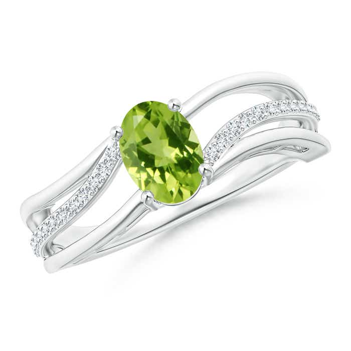 Solitaire Oval Peridot Bypass Ring with Diamond Accents - Angara.com