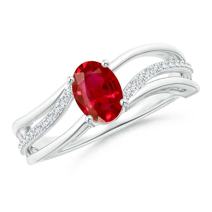Solitaire Oval Ruby Bypass Ring with Diamond Accents - Angara.com