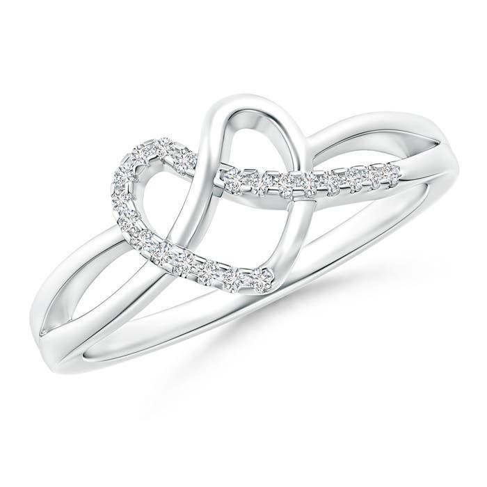 Pave-Set Diamond Knotted Heart Ring - Angara.com