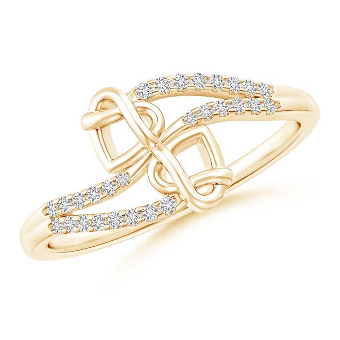 Split Diamond Knotted Twin Heart Ring - Angara.com