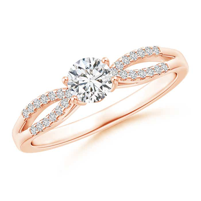 Solitaire Diamond Split Shank Ring With Knotted Heart-Motif - Angara.com