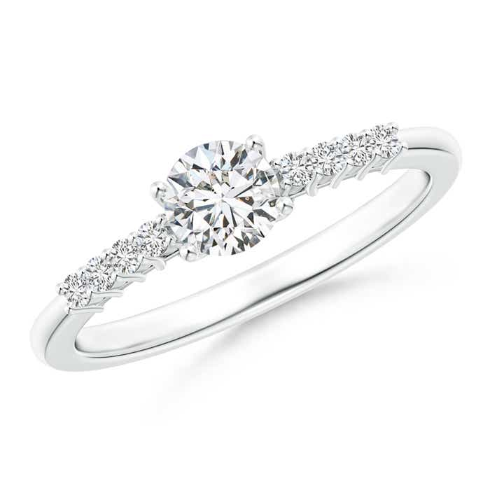 Round Diamond Classic Solitaire Ring With Pretzel Heart-Motif - Angara.com