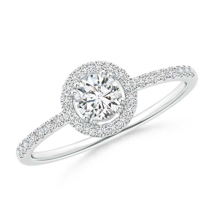 Floating Round Diamond Halo Engagement Ring - Angara.com