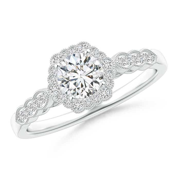 Scalloped Edge Diamond Halo Engagement Ring With Milgrain