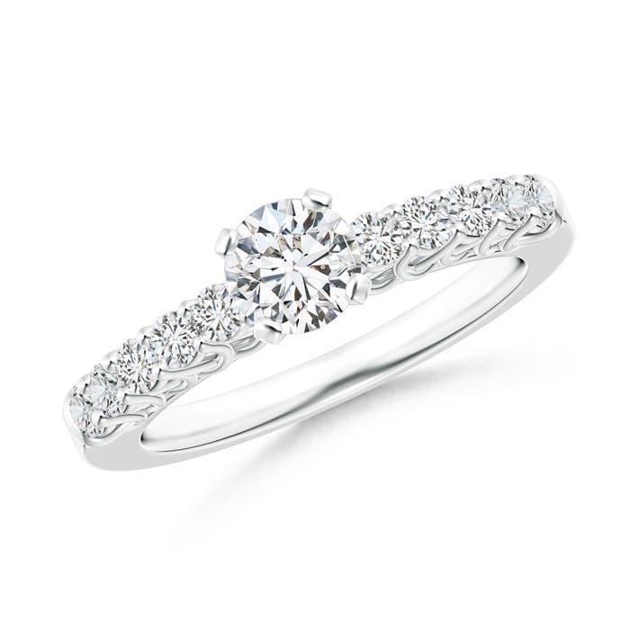 Round Trellis Diamond Solitaire Engagement Ring - Angara.com