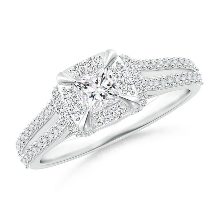 Claw-Set Cushion Halo Diamond Collar Engagement Ring - Angara.com