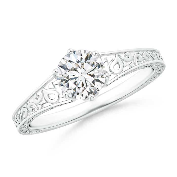 Reverse Tapered Diamond Solitaire Engagement Ring with Filigree-Motifs - Angara.com