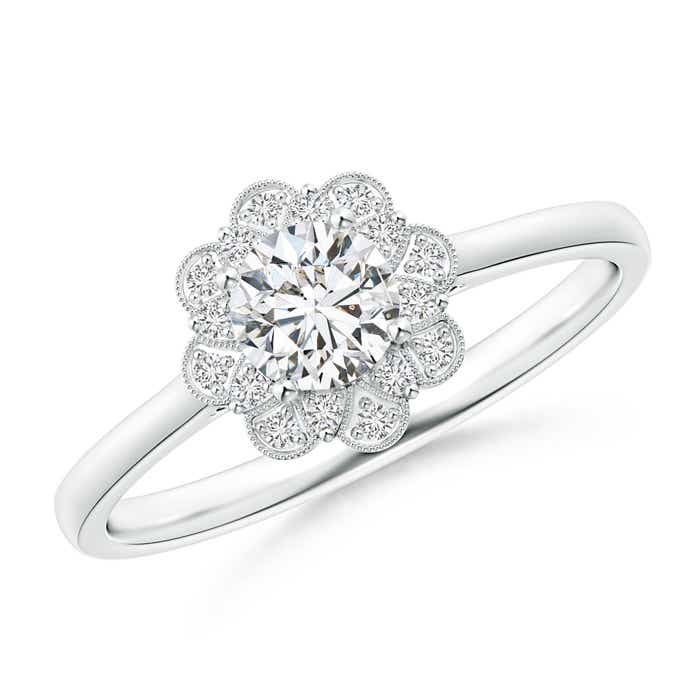 Milgrain Petal Diamond Halo Engagement Ring - Angara.com