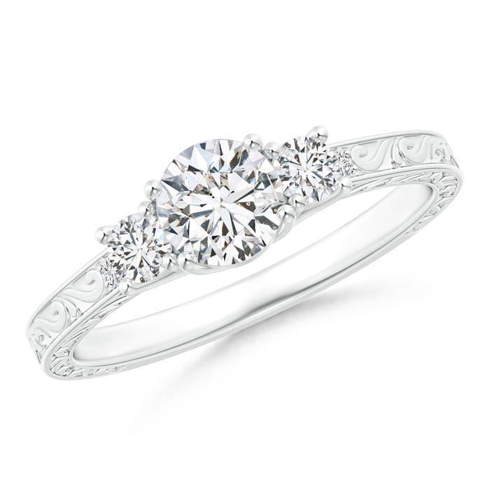 Antique Scroll Trellis-Set Diamond Three Stone Engagement Ring - Angara.com