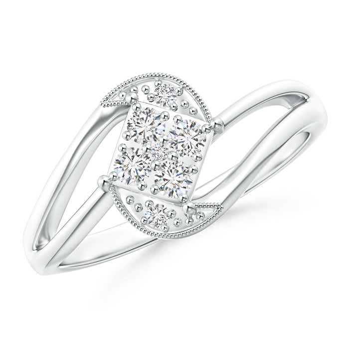 Cluster Diamond Accent Bypass Promise Ring - Angara.com