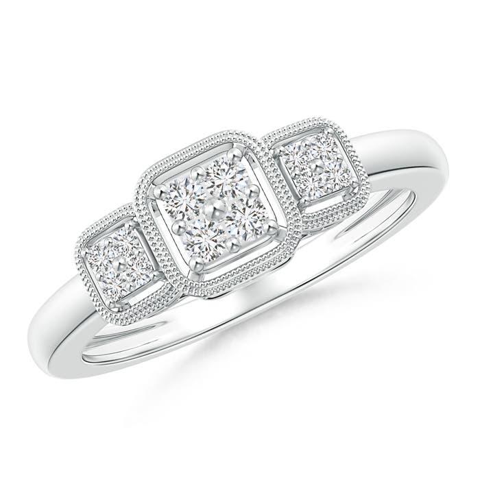 Cushion Framed Composite Diamond Art Deco Promise Ring - Angara.com