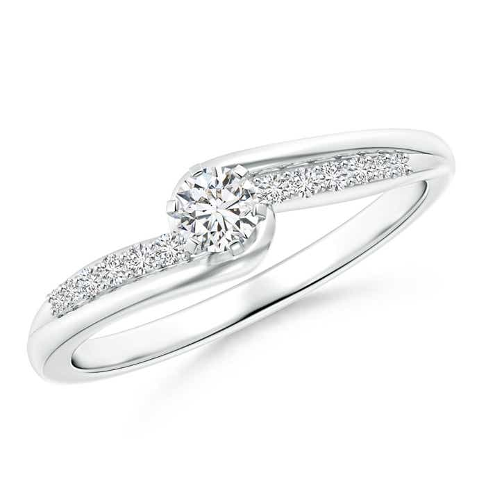 Six Prong-Set Solitaire Diamond Bypass Promise Ring - Angara.com