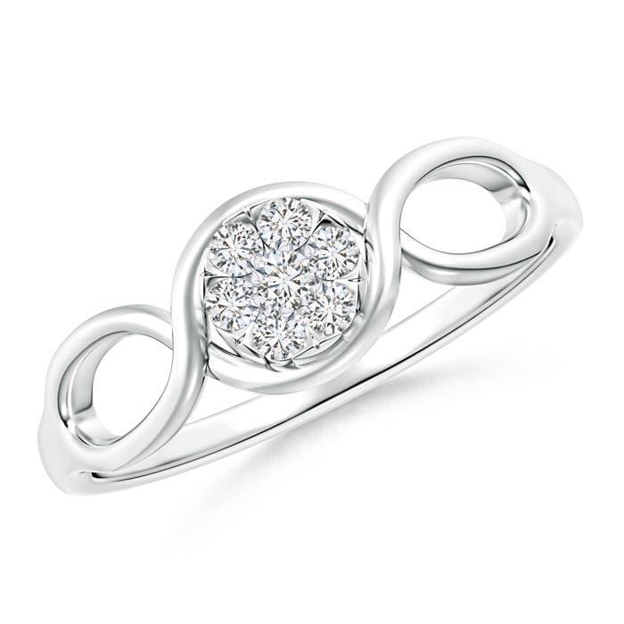 Double Helix Diamond Cluster Promise Ring - Angara.com