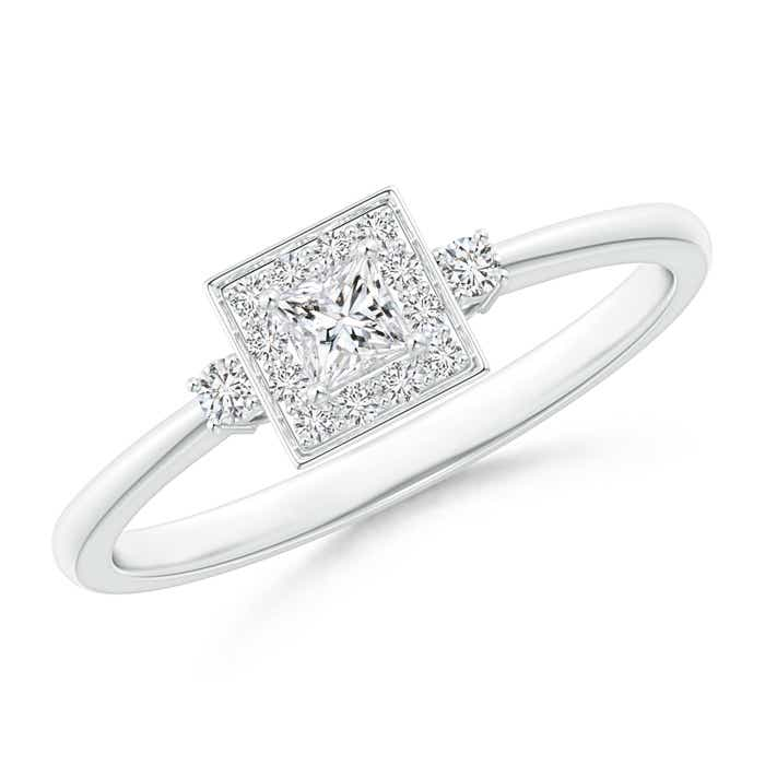 princess cut halo promise ring angara