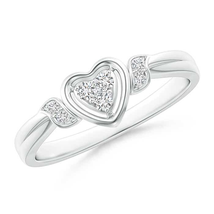 Angara Entwined Double Diamond Bypass Heart Promise Ring cNYgn7