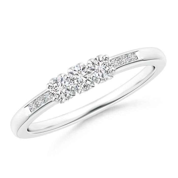 Three Stone Round Diamond Engagement Ring with Heart-Motifs - Angara.com
