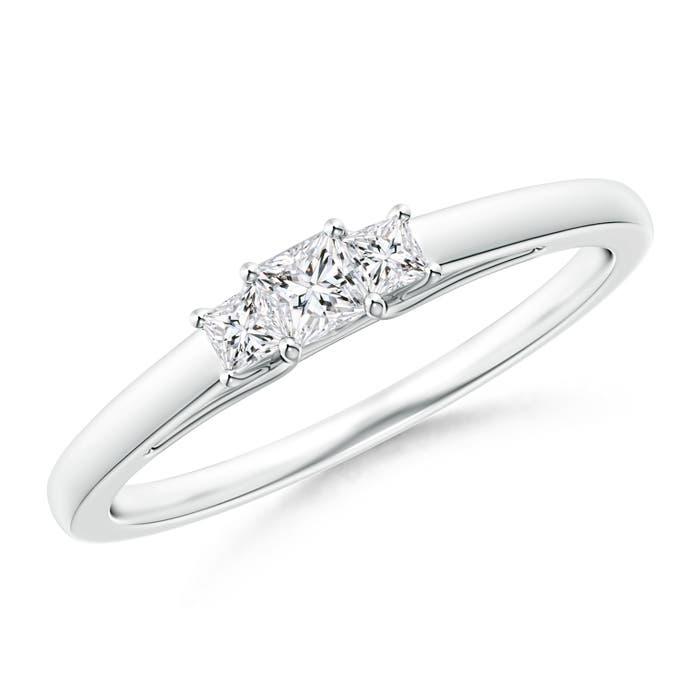 Princess-Cut Trellis Diamond Three Stone Ring - Angara.com