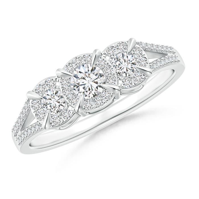 Claw-Set Halo Diamond Three Stone Engagement Ring - Angara.com