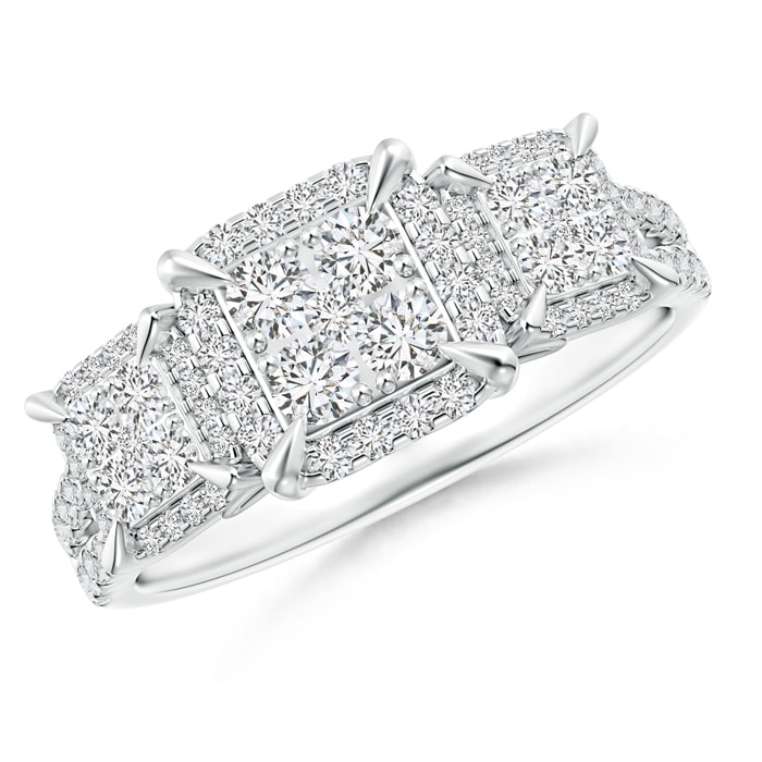 Claw-Set Diamond Triple Square Cluster Engagement Ring - Angara.com