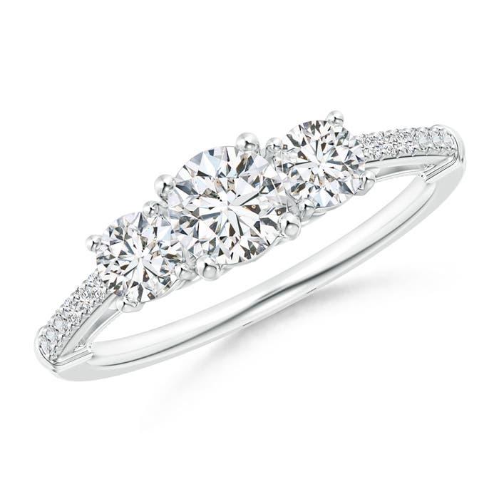 Three Stone Diamond Cathedral Engagement Ring - Angara.com