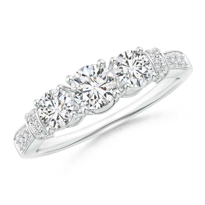 Three-Stone Round Diamond Collar Engagement Ring - Angara.com