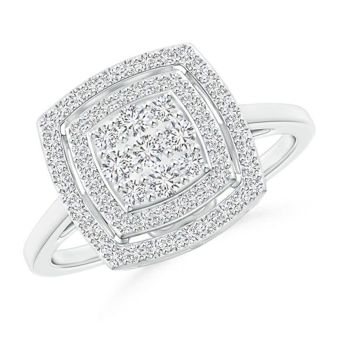 Composite Diamond Cushion Halo Engagement Ring - Angara.com