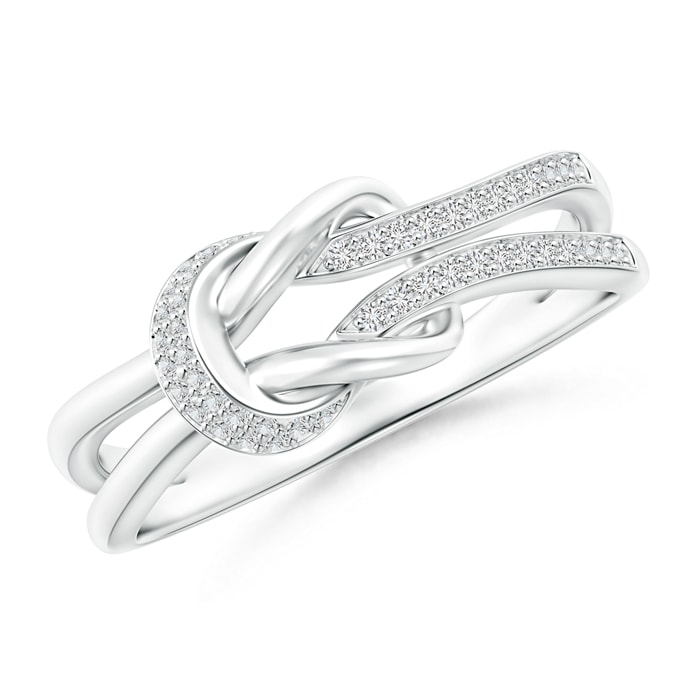 Pave-Set Diamond Split Infinity Knot Ring - Angara.com