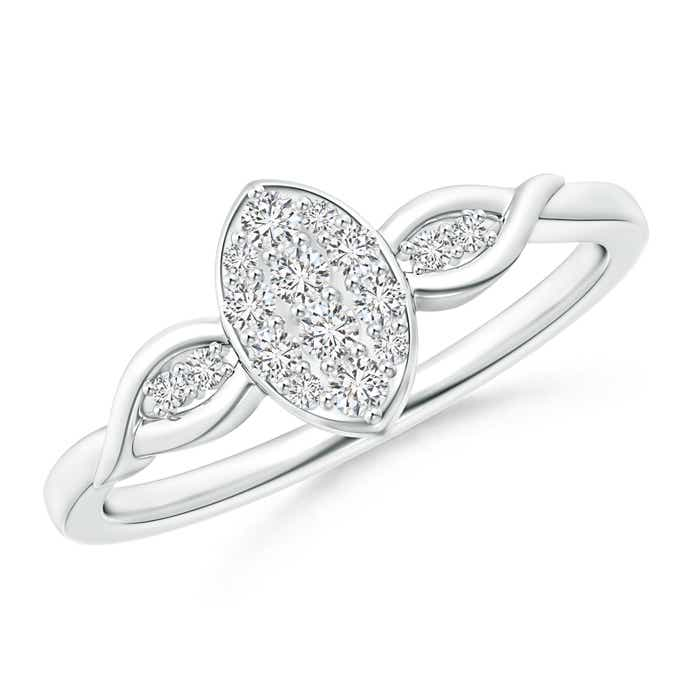 Round Diamond Marquise Cluster Ring with Leaf-Motifs - Angara.com