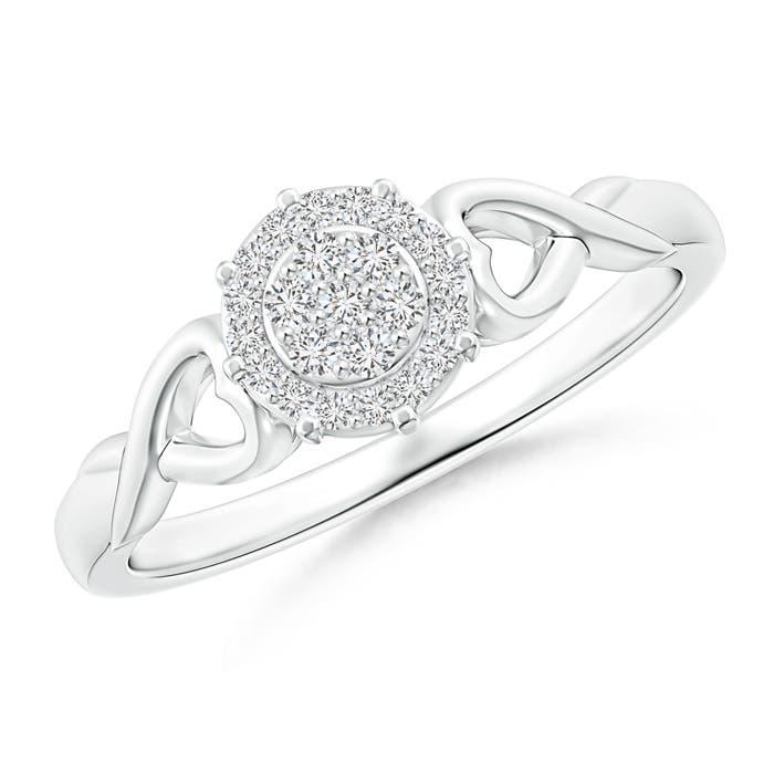 Twisted Heart 2 Heart Diamond Cluster Halo Ring - Angara.com