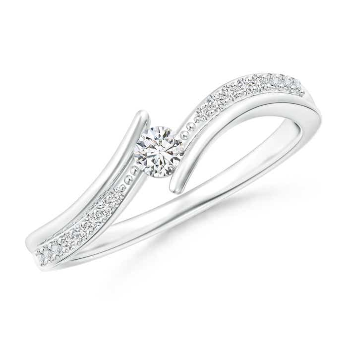 Twin-Shank Diamond Channel-Set Solitaire Bypass Ring - Angara.com