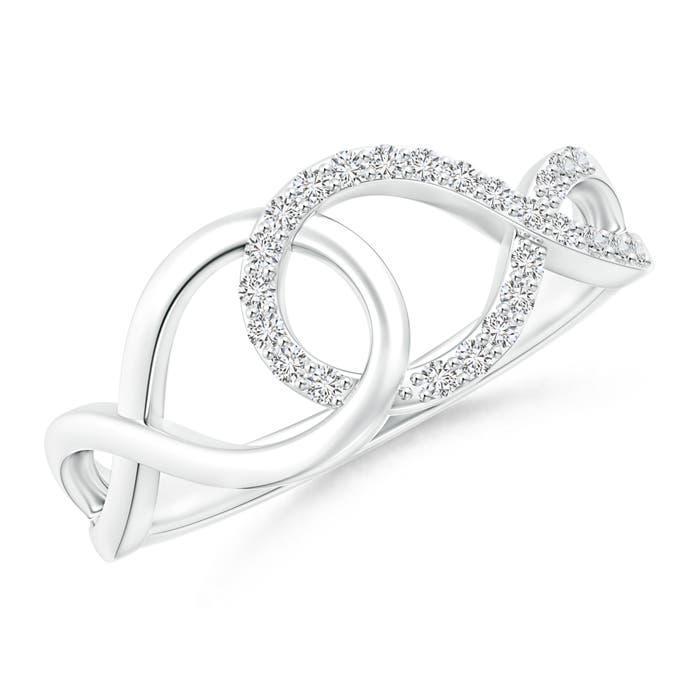 Interlinked Open Loop Diamond Infinity Ring - Angara.com