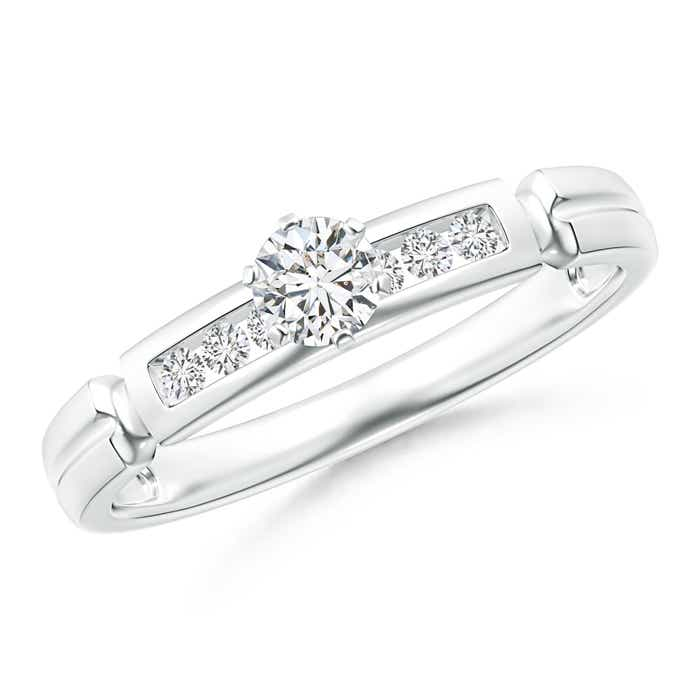 Incised Channel-Set Diamond Solitaire Engagement Ring - Angara.com