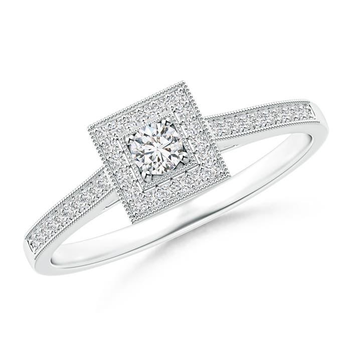 Milgrain Outlined Diamond Square Halo Engagement Ring - Angara.com