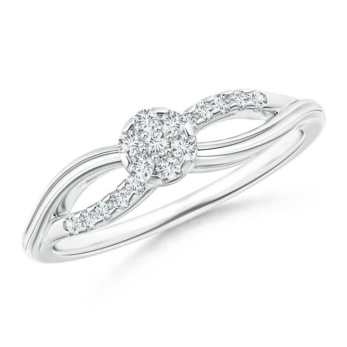 Angara Slanted Channel-Set Diamond Cluster Engagement Ring m6Pnoc