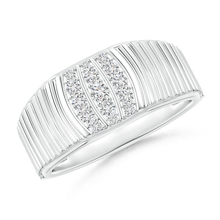 Triple-Row Diamond Vertical Stripe Ring for Him - Angara.com