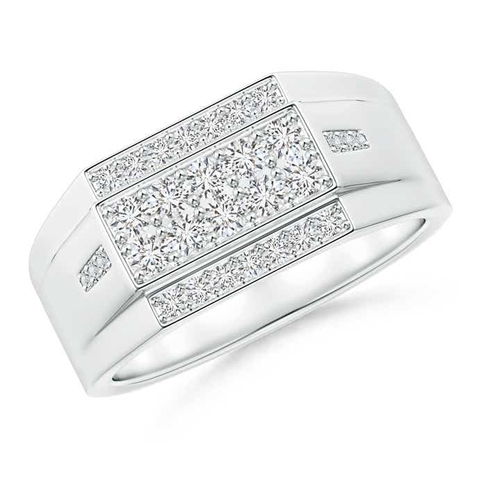Rectangular Composite Diamond Convex Men's Ring - Angara.com