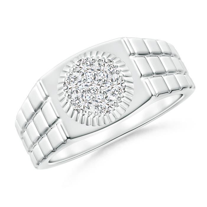 Round Cluster Diamond Rolex Style Men's Ring - Angara.com