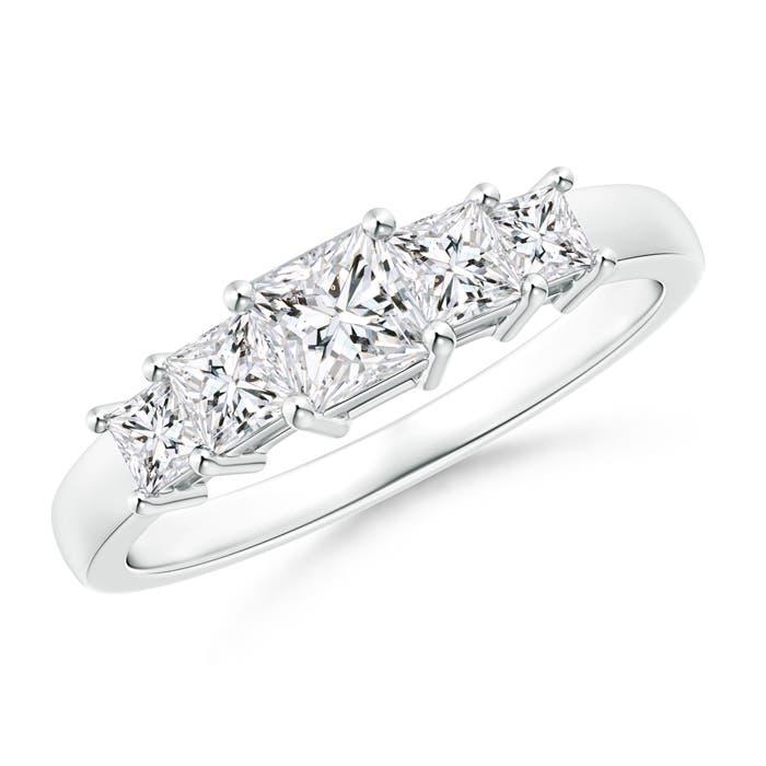Angara Eleven Stone Princess Cut Diamond Wedding Band in White Gold 4w4Ts