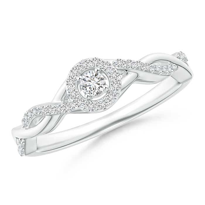 Entwined Infinity Diamond Halo Promise Ring - Angara.com