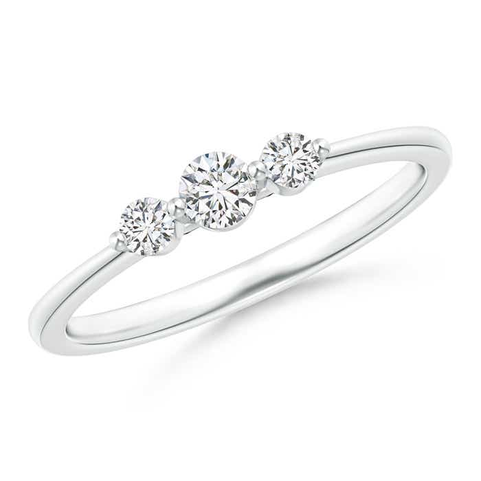 Floating Diamond Three Stone Stackable Ring - Angara.com