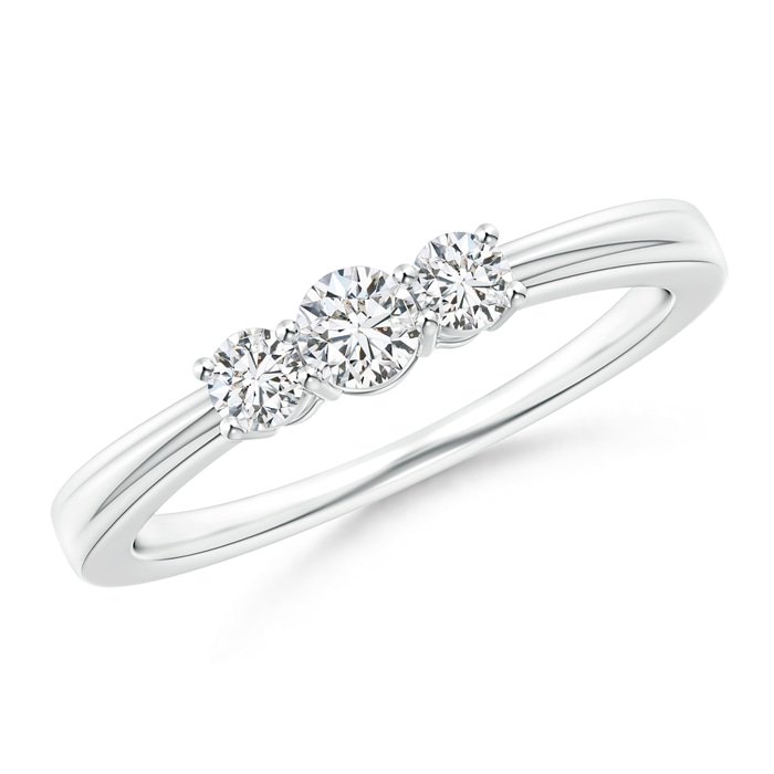Step-Edged Three Stone Diamond Tapered Ring - Angara.com