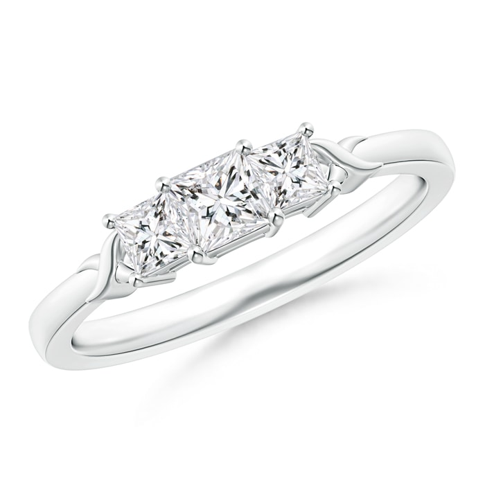 Cross-Motifs Princess-Cut Diamond Three Stone Ring - Angara.com