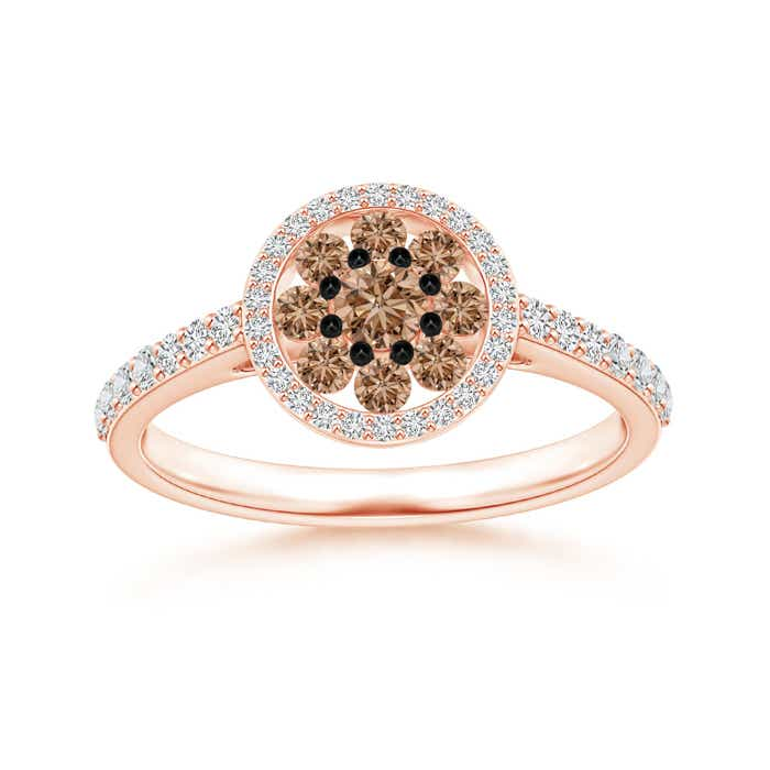 Angara Brown Diamond Cluster Halo Ring in Rose Gold
