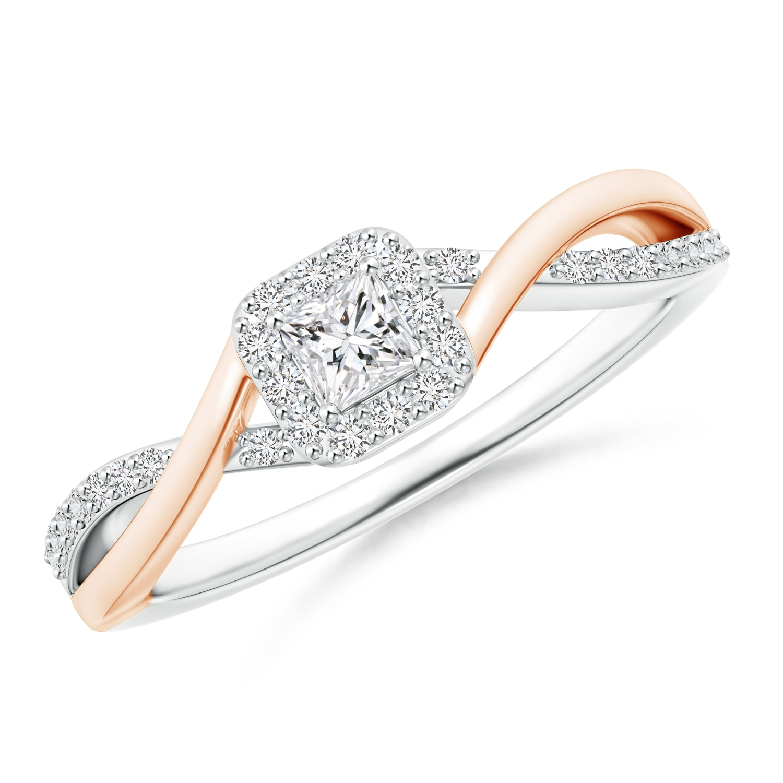 Princess-Cut Diamond Halo Crossover Ring in Two Tone Gold - Angara.com