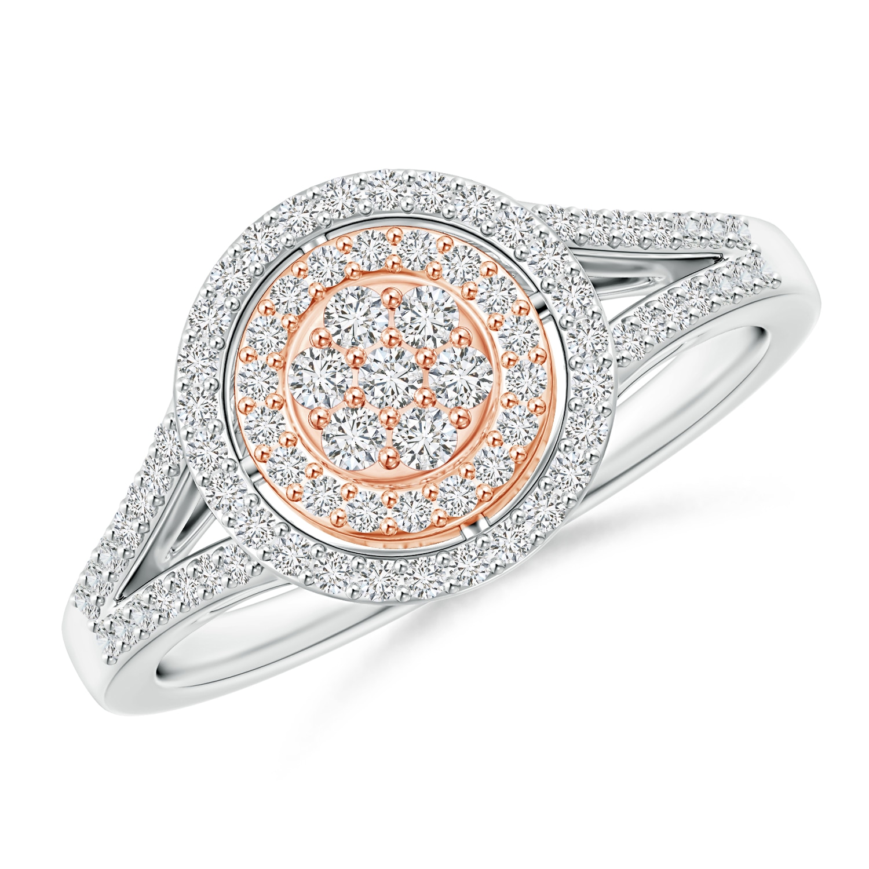 Cluster Diamond Double Halo Split Shank Ring in Two Tone - Angara.com