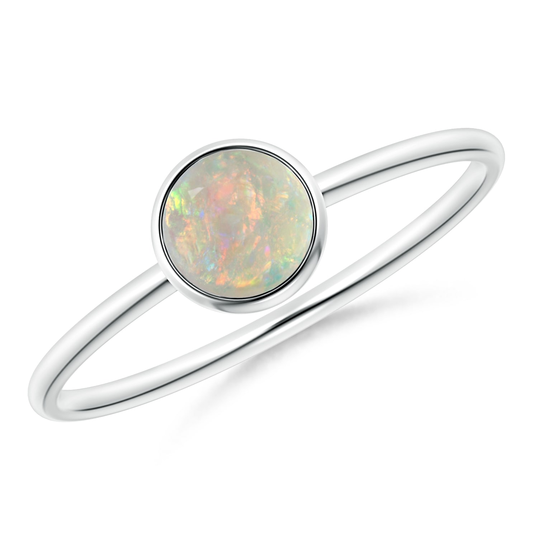 Bezel Set Round Opal Stackable Ring | Angara