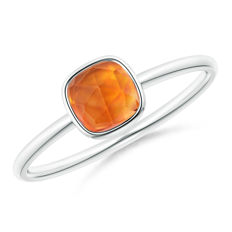 Bezel Set Cushion Citrine Solitaire Ring | Angara