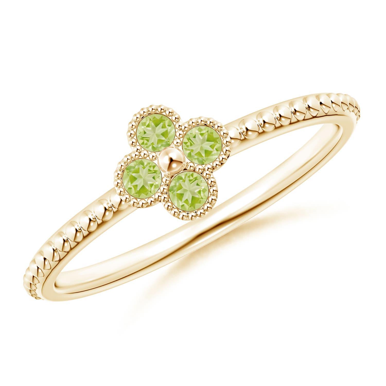 Emerald Peridot Four Leaf Clover Ring
