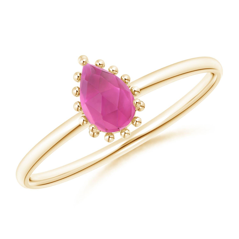 Angara Pear-Shaped Pink Tourmaline Beaded Halo Ring B8OX5m